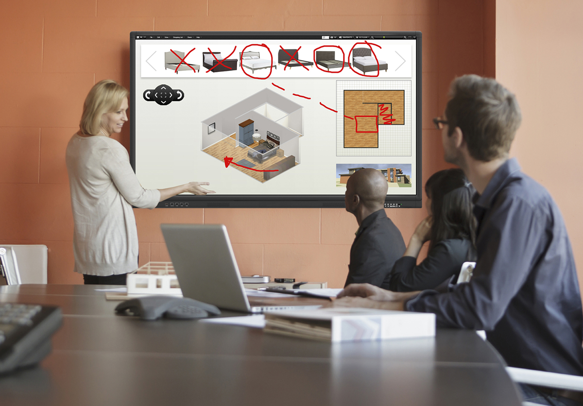 Interactive touchscreen in a meeting room