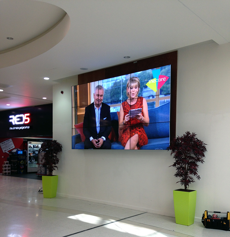 Shopping centre with a 9 screen video wall